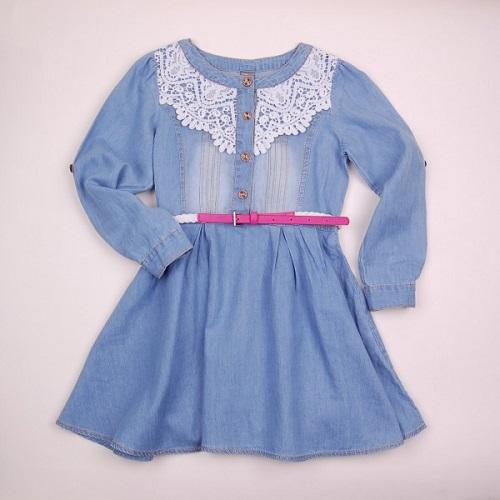 4d8691db60e Джинсовое платье с кружевом